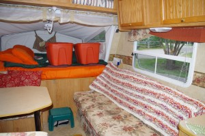 Trailer Interior - everyone has their bins on the bunks to save space